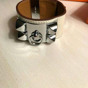 White Cuff with Silver Hardware